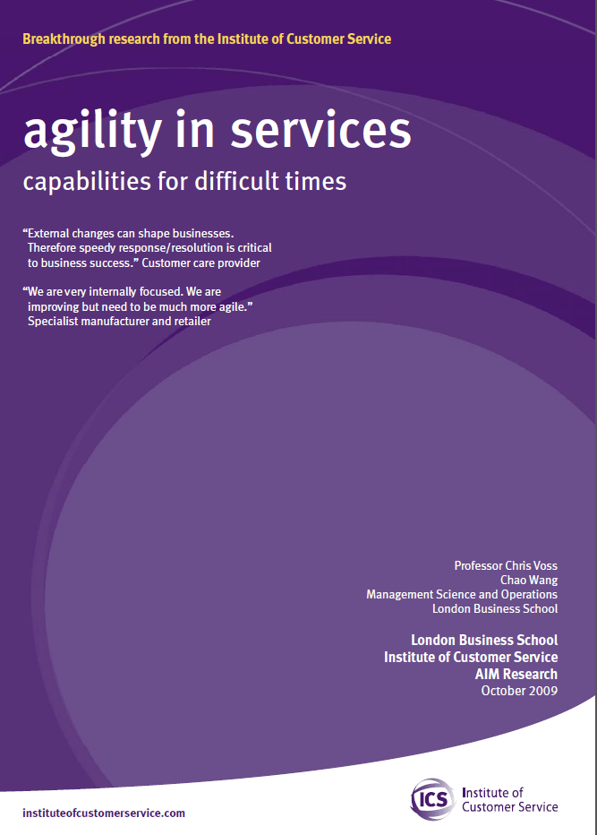 Agility In Services – Capabilities For Difficult Times (2009)