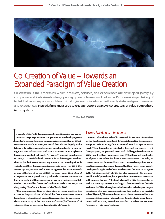 Co-Creation Of Value – Towards An Expanded Paradigm Of Value Creation (2009)