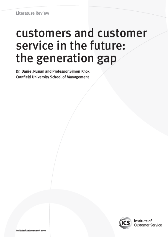 Customers And Customer Service In The Future: The Generation Gap (2010)