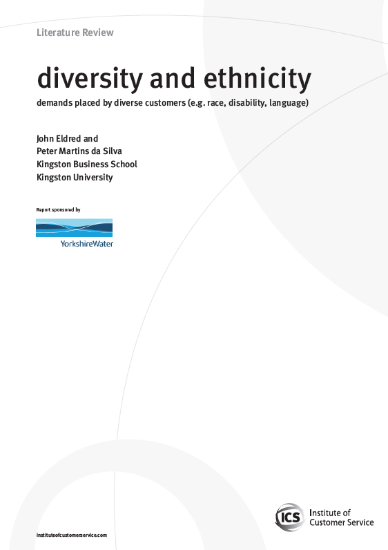 Diversity And Ethnicity – Demands Placed By Diverse Customers (e.g. Race, Disability, Language) (2010)