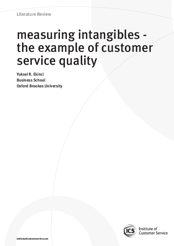 Measuring Intangibles – The Example Of Customer Service Quality (2010)