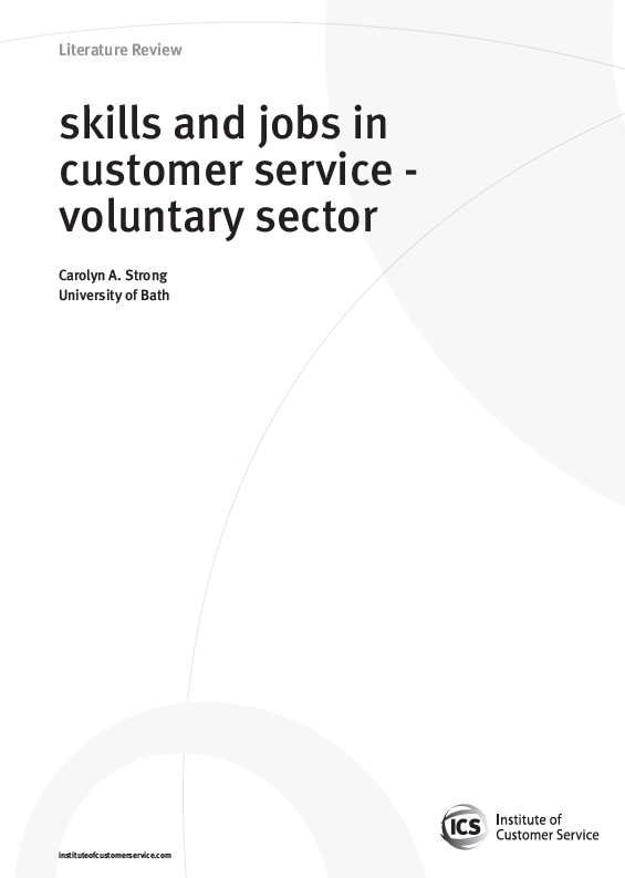 Skills And Jobs In Customer Service – Voluntary Sector (2010)