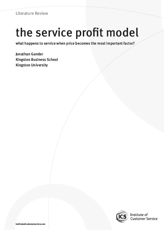 The Service Profit Model – What Happens To Service When Price Becomes The Most Important Factor? (2010)