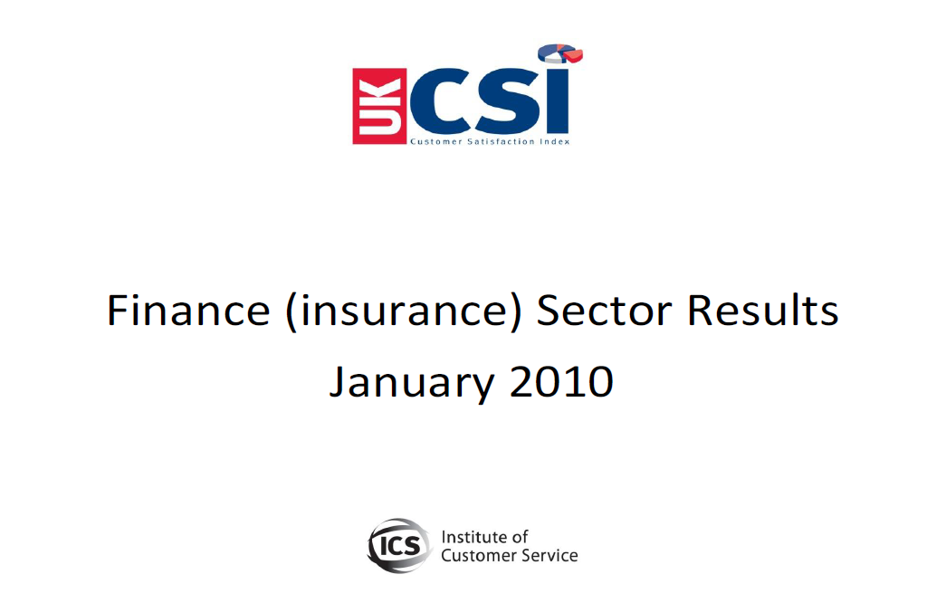 UKCSI Insurance Sector Report – January 2010