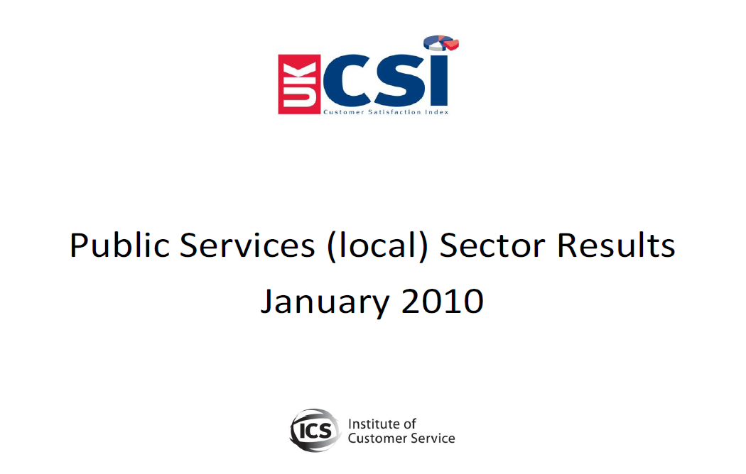 UKCSI Public Services (Local) Sector Report – January 2010