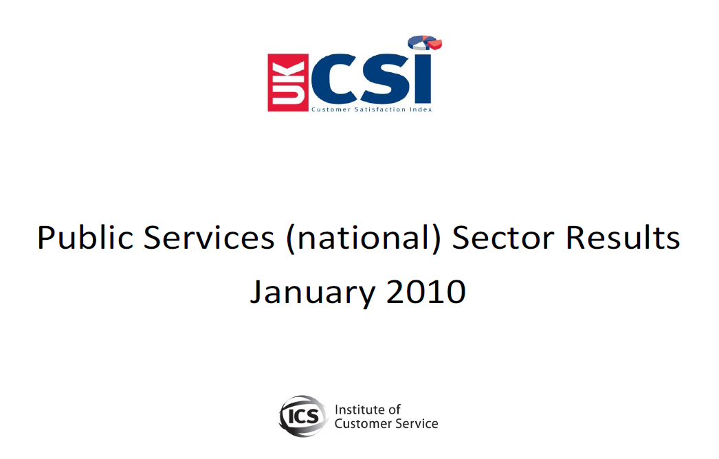 UKCSI Public Services (National) Sector Report – January 2010