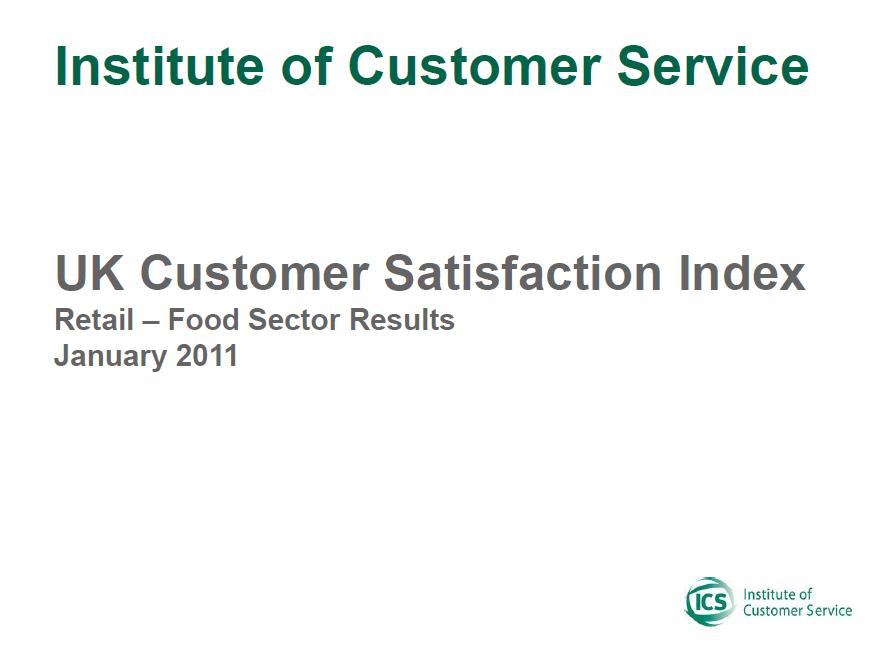 UKCSI Retail (Food) Sector Report – January 2011