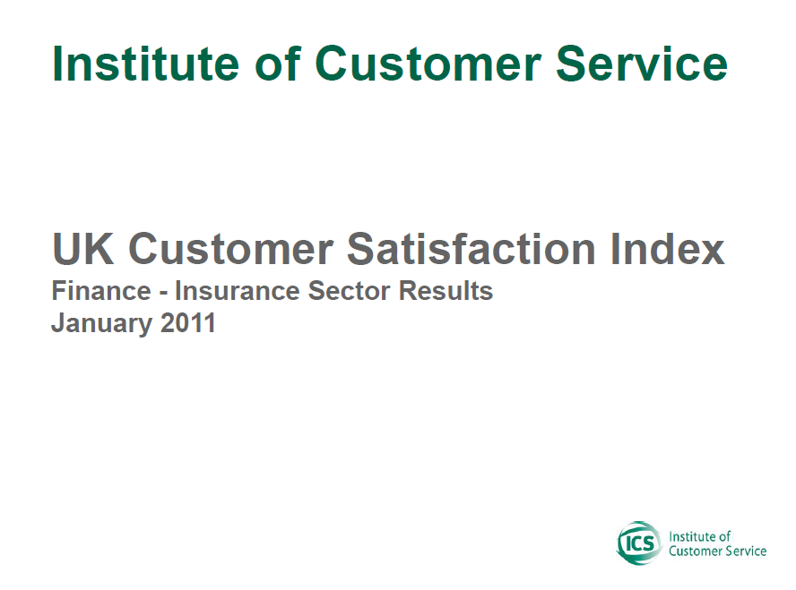 UKCSI Insurance Sector Report – January 2011