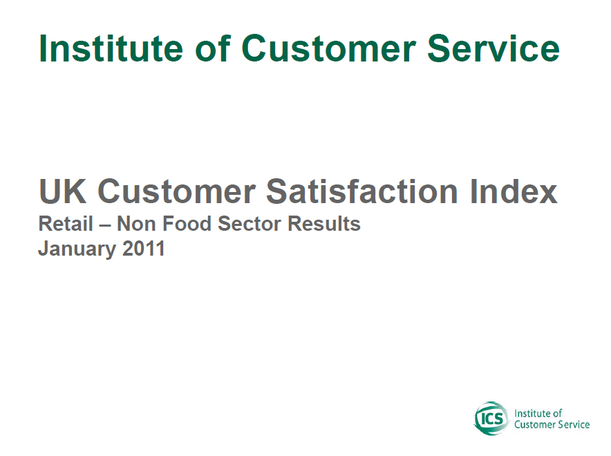 UKCSI Retail (Non-food) Sector Report – January 2011