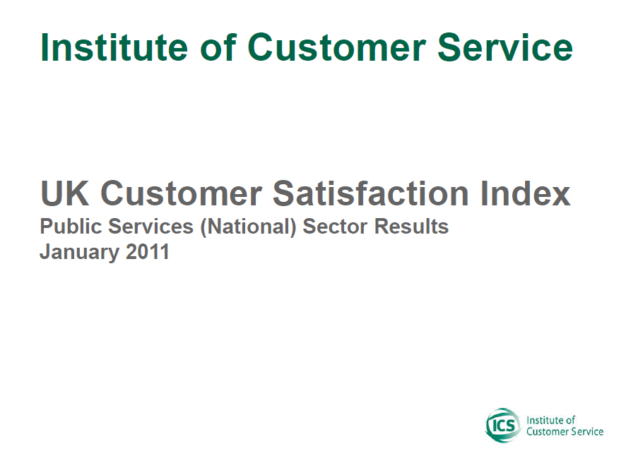 UKCSI Public Services (National) Sector Report – January 2011