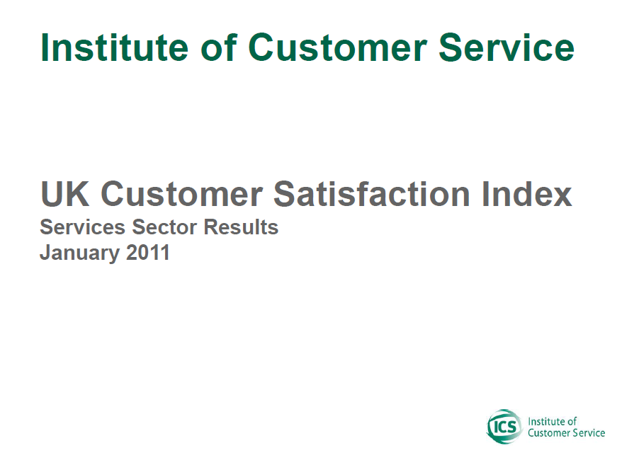 UKCSI Services Sector Report – January 2011