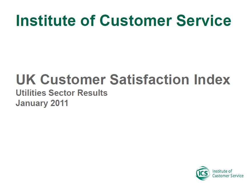UKCSI Utilities Sector Report – January 2011