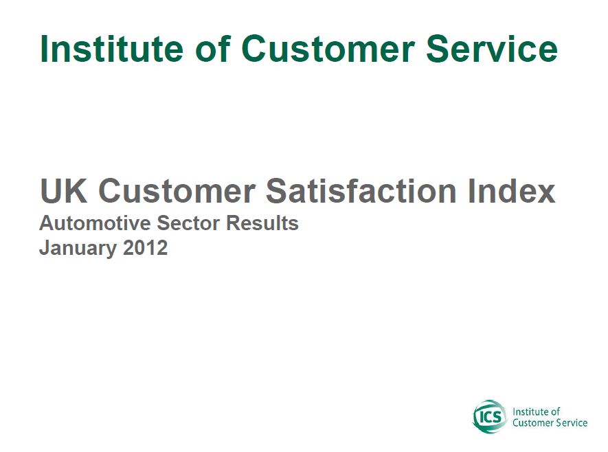 UKCSI Automotive Sector Report – January 2012