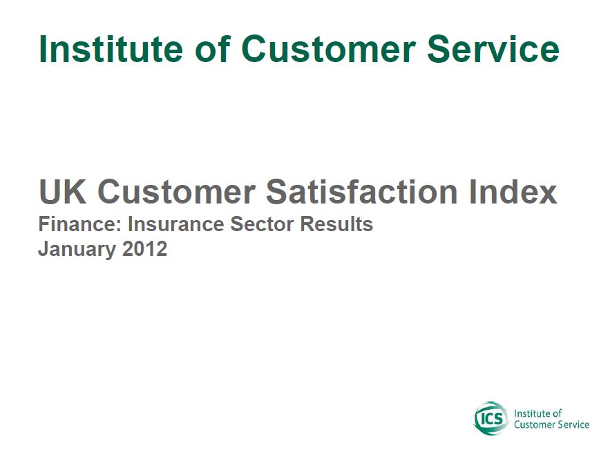 UKCSI Insurance Sector Report – January 2012