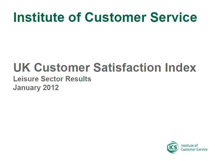 UKCSI Leisure Sector Report – January 2012