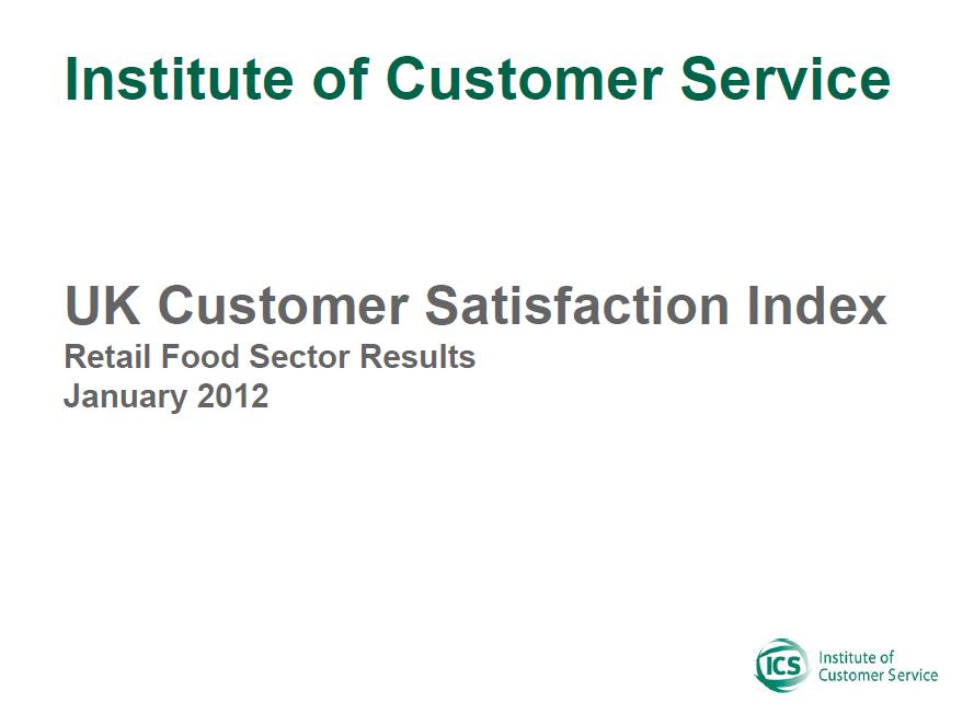 UKCSI Retail (Food) Sector Report – January 2012
