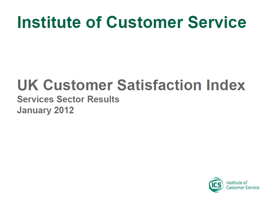 UKCSI Services Sector Report – January 2012