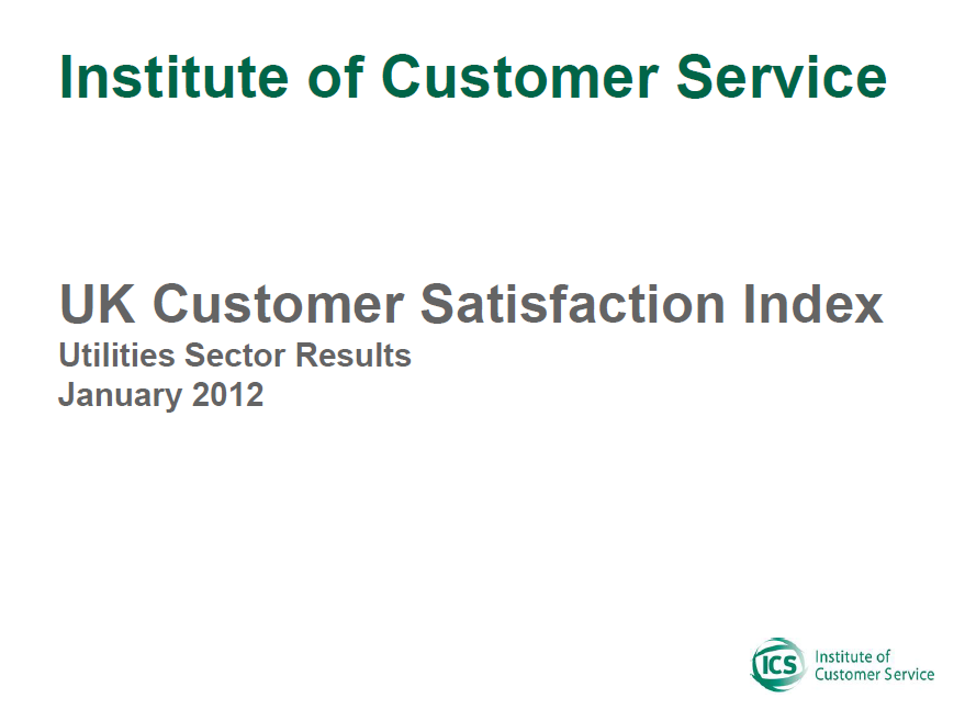 UKCSI Utilities Sector Report – January 2012