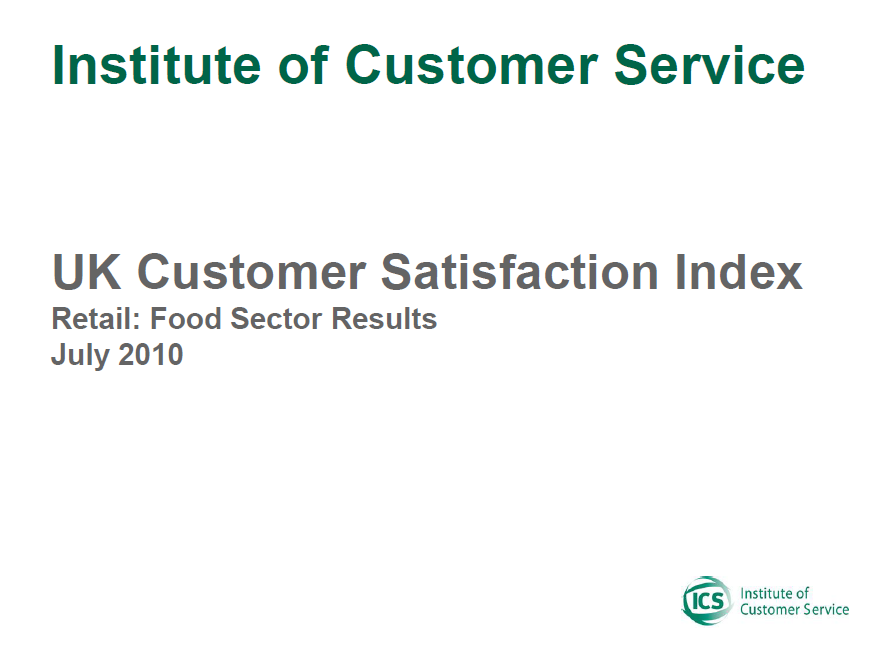 UKCSI Retail (Food) Sector Report – July 2010
