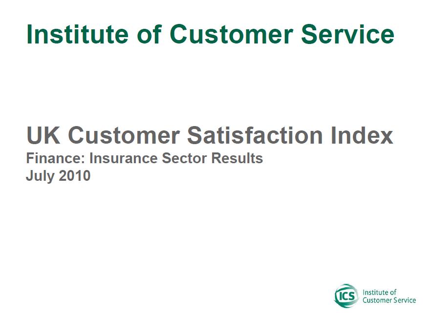 UKCSI Insurance Sector Report – July 2010