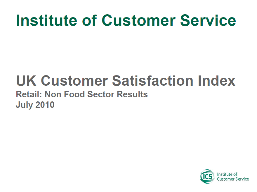 UKCSI Retail (Non-food) Sector Report – July 2010
