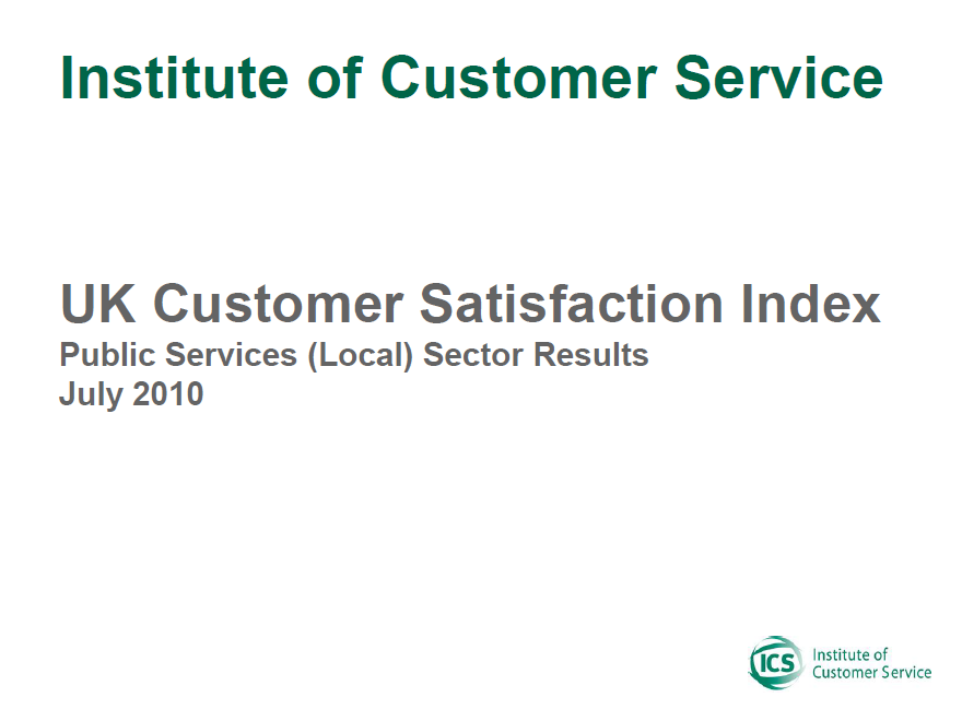 UKCSI Public Services (Local) Sector Report – July 2010