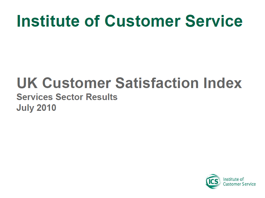 UKCSI Services Sector Report – July 2010