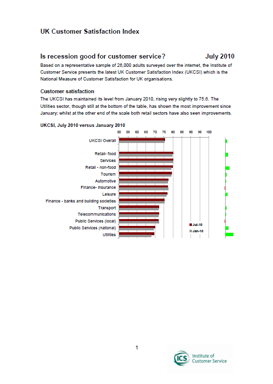 UKCSI: The State Of Customer Satisfaction In The UK – July 2010