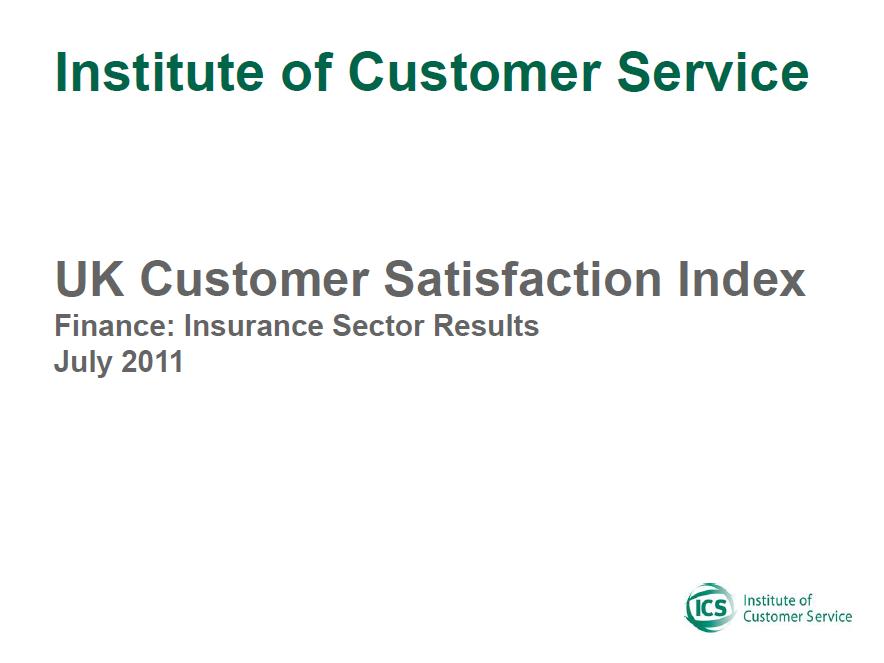 UKCSI Insurance Sector Report – July 2011