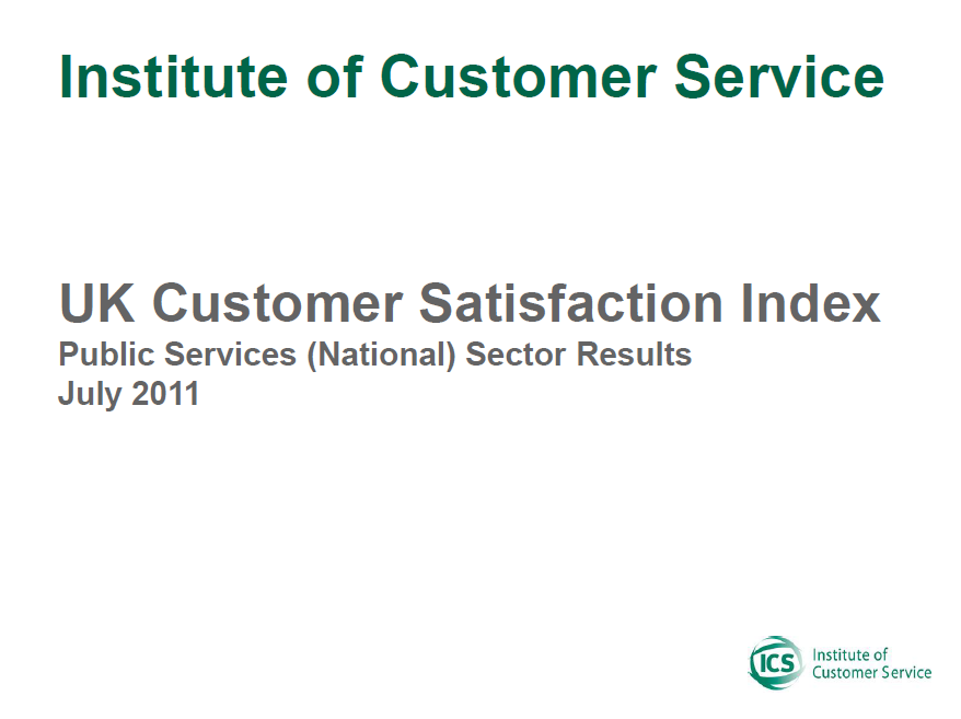UKCSI Public Services (National) Sector Report – July 2011