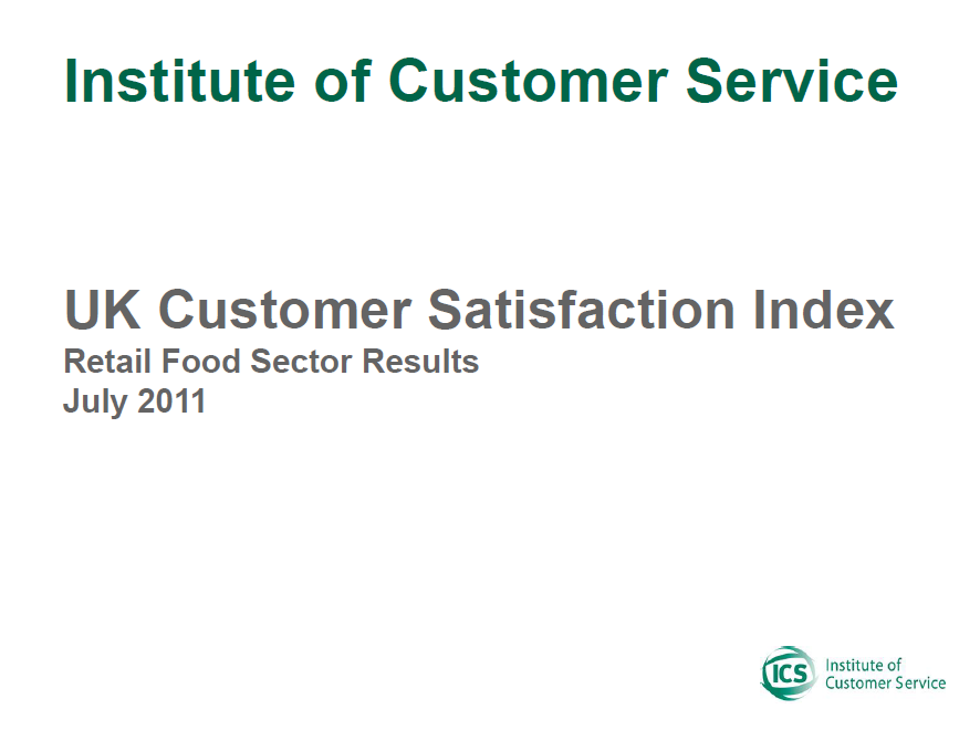 UKCSI Retail (Food) Sector Report – July 2011