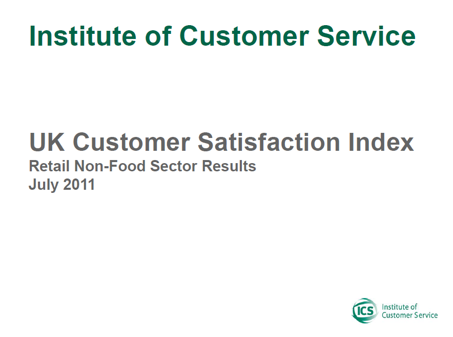 UKCSI Retail (Non-food) Sector Report – July 2011