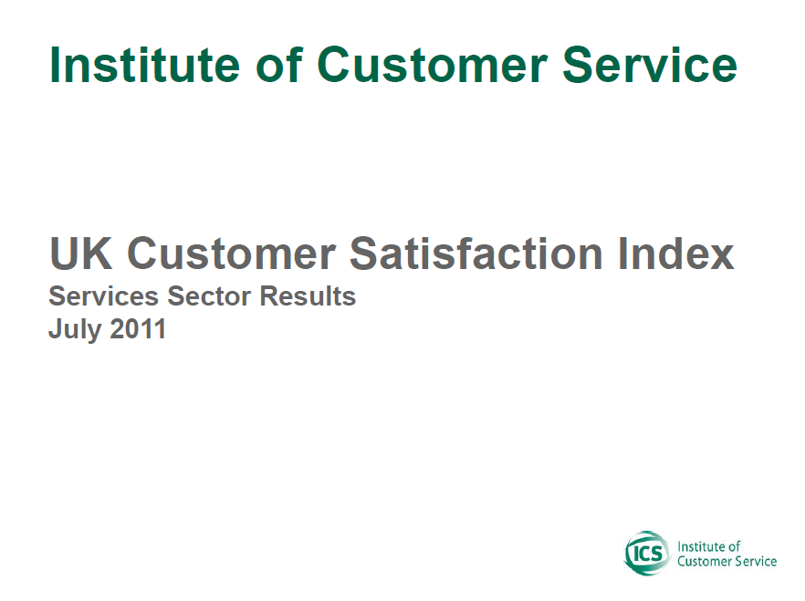 UKCSI Services Sector Report – July 2011